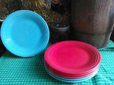 "set lot 6 DINNER PLATES turquoise  scarlet red HOMER LAUGHLIN FIESTA WARE 10.5"""