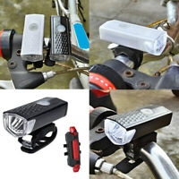 USB Rechargeable Bike Bicycle LED Head Front Light & Tail Lamp Set Nkd