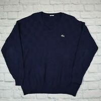 Mens Vintage Lacoste Knitted Sweater Jumper Navy Blue Vtg 90s Size XL