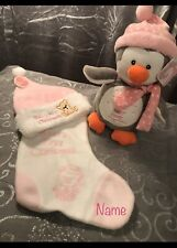 Personalised Baby's First Christmas Pink Soft toy, Stocking & Hat Set any Name