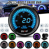 """2""""52mm Digital LED Display Turbo Boost Pressure Gauge Kit Car Meter -1~2 BAR 12V"""