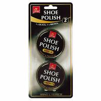 SHOE POLISH BLACK & BROWN LEATHER VINYL SHOE GLOSS SHINE POLISH CARE 2 TIN 40G