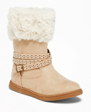 Old Navy Faux-Fur-Trim Buckled Boots for Toddler Girls Sand Size 7