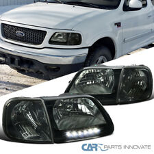 97-03 Ford F150 97-02 Expedition Smoke LED DRL Headlights+Corner Signal Lamps