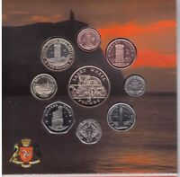 ISLE OF MAN - RARE 9 DIF BU COINS SET: 1 PENNY - 5 POUNDS 2016 YEAR MINT PACKAGE