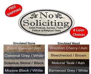 """No Soliciting Sign """"NO SOLICITING / etc.""""  Home/Business Door Sign FREE SHIPPING"""