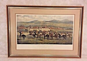 Vtg Punchestown The Conyngham Cup 1872 The Start Steeplechase Framed Matted
