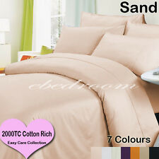 New Double 2000TC Cotton CVC Easy Care Quilt Cover&Pillowcases Sand-RRP$427