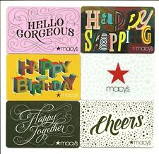 Lot (6) Macy's Gift Cards No $ Value Collectible Birthday Hello Gorgeous Cheers