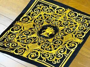 "Hermes Pleated Silk Scarf ""LES TUILERIES "" Black Gold in Box #0939"