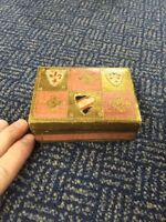 Old Antique Looking Gold Gilded Handmade Wood Trinket Box Made In Italy Souvenir