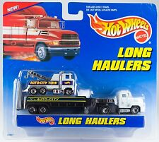 Hot Wheels Long Haulers Flatbed Transport Truck Auto City Tow New On Card 1997