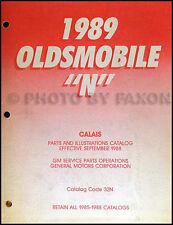 1989 only Oldsmobile Cutlass Calais Parts Book Original Illustrated Part Catalog