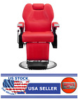 Classic Hydraulic Recline Hair Salon Iron Leather Sponge Barber Chair Red - GT
