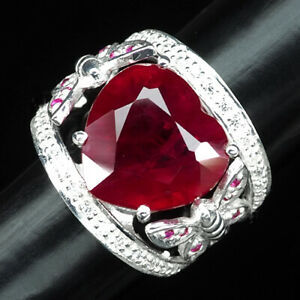 PIGEON BLOOD RED RUBY RING SZ 6.75 HEART 12.90 CT. SAPPHIRE 925 STERLING SILVER