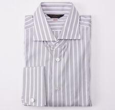 Ermenegildo Zegna Couture Gray Stripe French Cuff Dress Shirt 16.5 X 36