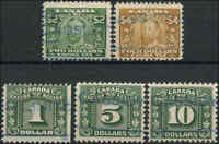 1915-23 Used F Canada $2-$10 (5) Van Dam #FX15-91 Excise Tax Stamps
