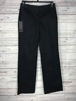 Karl Lagerfeld Women's Black 100% Cotton Flat Front Dress Pants Size 4 / 38 NWT