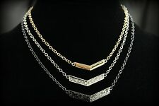 GUESS 3-Tone Gold Silver & Hematite Tone Metal w/ Pave Crystal Collar Necklace