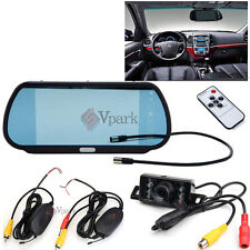 "7""LCD Car Mirror Monitor+Wireless Rear View Backup Parking Camera W Night Vision"