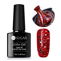 7.5ml Holographics Glitter Nail Soak Off UV Gel Polish Sequins Varnish Red UR-07