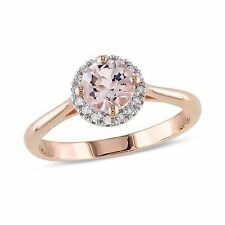 1Ct Round Morganite Synt Diamond Solitaire Engagement Ring Rose Gold Fnsh Silver