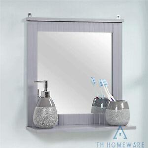 Wood Framed Grey Wall Décor Mounted Bathroom Mirror with Shelf Hanging Vanity