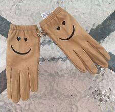 Authentic Moschino Cheap And Chic Smiley Face Leather Gloves 7.5 Silk Lining NWT