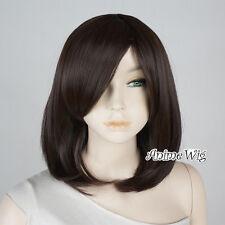 Medium 40CM Short Dark Brown Girls Wavy Anime Cosplay Heat Resistant Full Wig