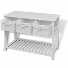 39*15*29inch White Storage Sideboard Desk with 3 Woven Baskets Drawers