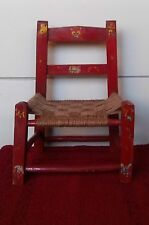 Vintage Antique Red Childs Woven Cane Bottom Chair Wood Painted Doll Toy