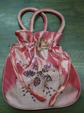 Pink Fashion Embroider Sequins Handbags silk Jewelry Bag pouches Gift Drawstring