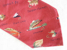 Men's Orvis Fishing Neck Tie Tied Flies Named  Yellow Drake Spanish Fly Blk Gnat