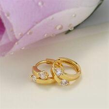 18K Yellowe Gold Filled CZ Hoop Earrings (E-214)