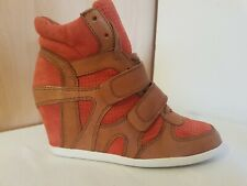 Ash Cuña Suede & Leather Naranja y Marrón Zapatillas para mujer Talla 37