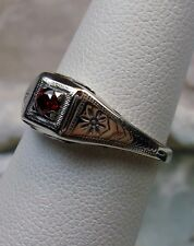 *Red Garnet* Solid Sterling Silver Wedding Art Deco Revival Filigree Ring Size 7
