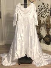 Vintage 80s White Wedding Dress Beaded Lace Long Sleeve Bridal Originals Size 20