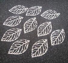 ~ 10 Silver Tone Filigree Leaf Pendants ~ CRAFTING/JEWELLERY MAKING ~