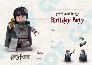 #84 HARRY POTTER Pack of 10 kids children birthday party INVITATIONS