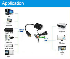 NEW Input HD HDMI to Output VGA Cable Converter Adapter for PC DVD TV Monitor