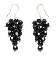 Ohrhänger in Traubenform aus Onyx & 925 Silber, schwarz, Ø4mm, Ohrringe, Damen