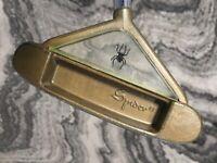 "RARE Vintage SPIDER BRASS PUTTER 34"" RH WITH GLASS Steel Shaft  *NICE* BY BENSON"