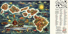 1950 Pictorial Dole Map Hawaiian Islands Vintage Wall Art Poster Print Decor