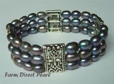 "Genuine Multi Strand Peacock Black Cultured Freshwater Pearl Bracelet 7"""
