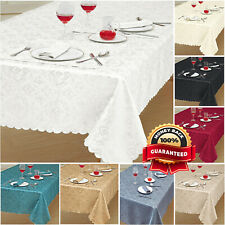 Damask Rectangle & Round Table Cloth Covers Jacquard Floral Tableware Napkins UK