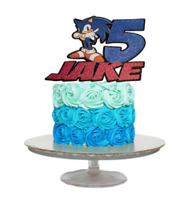SONIC INSPIRED PERSONALISED BIRTHDAY CAKE TOPPER ANY NAME AGE
