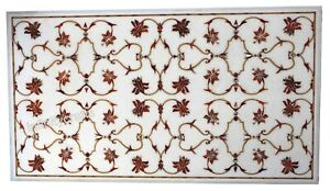 24 x 48 Inches Marble Coffee Table Top Inlay Carnelian Gemstones Center Table