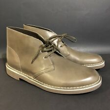 Clarks  Chukka Boots Bushacre 2 Leather Khaki Brown Lace Up Light Weight Sz 11 M