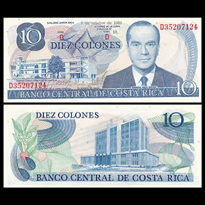 Costa Rica 10 Colones, 1985, P-237,banknotes, UNC