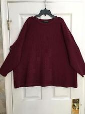 Eskandar One Size 1x 2x  Cranberry Cabled 100%  Cashmere Oversized Sweater $1690